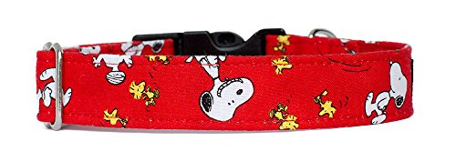 (Noddy & Sweets Handmade Dog Collar with Charm [Snoopy Oh Joy! Red] - Large)