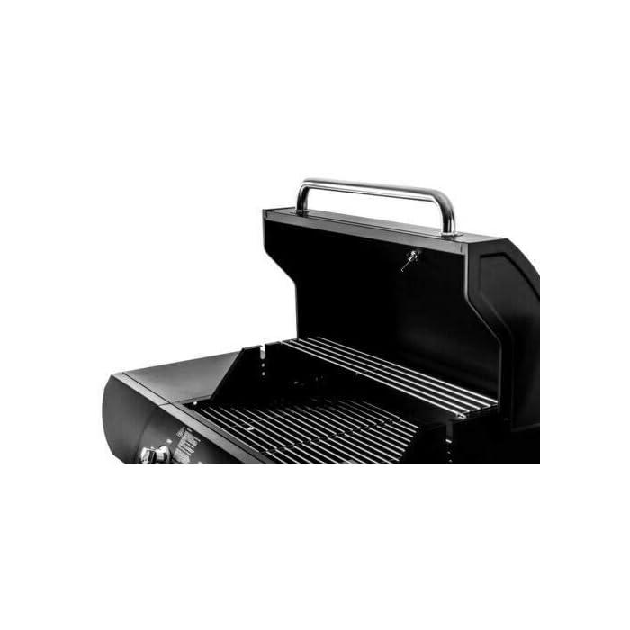 419TsZoDJjL Fuego de campamento 4 y también incluye 1 quemador lateral. Cada quemador se puede encender individualmente a través de encendido piezo. Fácil de mover con 4 ruedas, tanto el gas butano como el propano son compatibles. Gran espacio de almacenamiento debajo de la parrilla de gas + estantes laterales. Incluye estante de calentamiento. La barbacoa viene en embalaje plano y requiere montaje. Se proporciona un manual de instrucciones detallado que proporciona un montaje fácil y rápido.