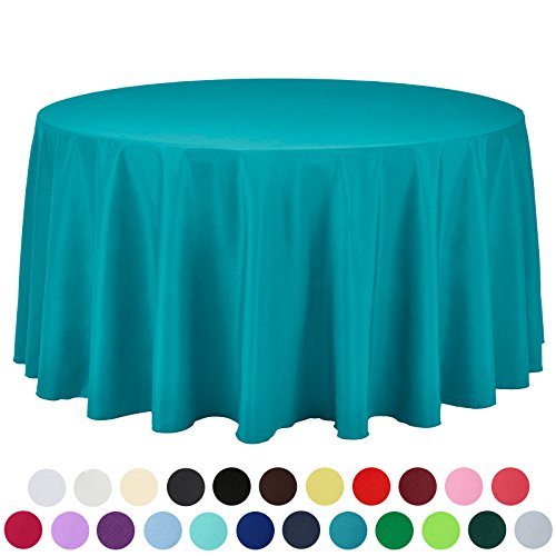 VEEYOO 108 inch Round Solid Polyester Tablecloth for Wedding Restaurant Party, Caribbean