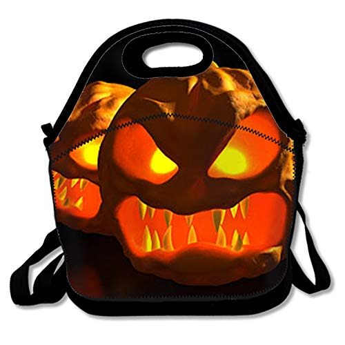 Scary Halloween Pumpkin Carving Girls Insulated Lunch Bag Tote Handbag lunchbox Food Container Gourmet Tote Cooler warm Pouch For School work Office -