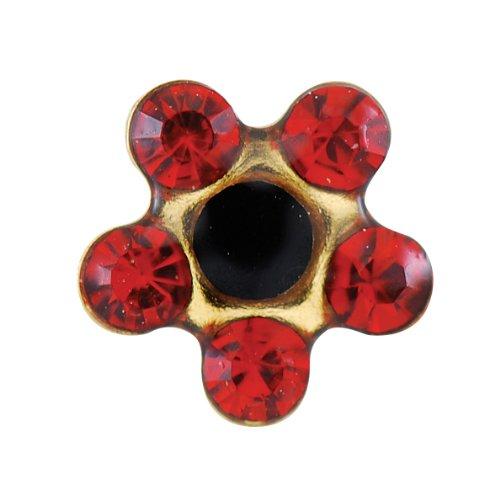 Studex sensible standard de jais Cristal Daisy-Rouge Rubis Plaqué or Clous d'oreilles en 5 mm