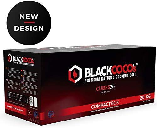 BLACKCOCO's - 20KG Carbón Natural de Coco Premium Cachimba y BBQ - Briquetas de Carbón de Coco de Alta Calidad Shisha y Barbacoas – Cubos de Carbón Barbacoa y Narguile con largo tiempo de combustión