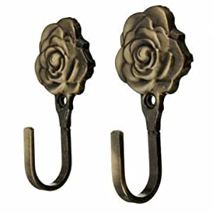 Amazon Com 2pcs Metal Rose Flower Curtain Tie Back Tieback Holders Wall Hooks No 2 Everything Else