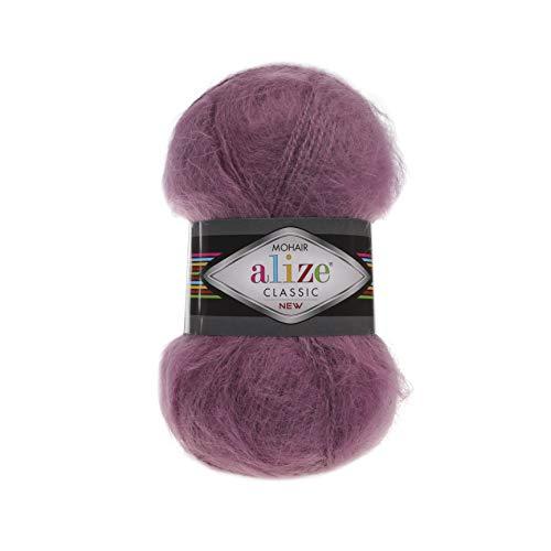 (Wool Mohair Yarn Alize Mohair Classic New Thread Crochet Hand Knitting Turkish Yarn Art Lot of 4 skeins 400 gr 875 yds Color 169 Dark)