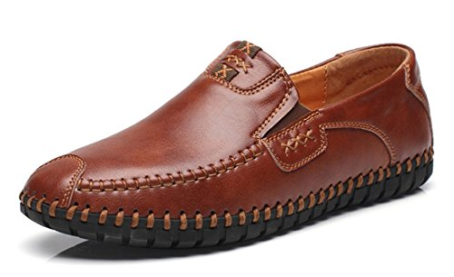 TDA Mens Casual Leather Stitching Moccasins Driving Loafers Slip-On Shoes Red Brown