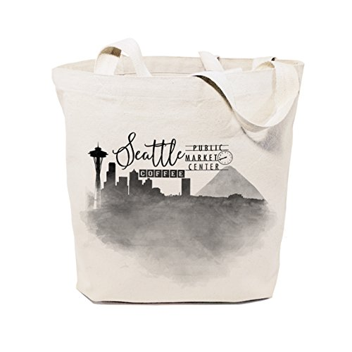 The Cotton & Canvas Co. Seattle Cityscape, Souvenir, Beach, Shopping and Travel Reusable Shoulder Tote and - Seattle Shopping