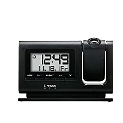 Oregon Scientific RM308PA Classic Projection Clock with Atomic Time Indoor Temperature Calendar Date - Black