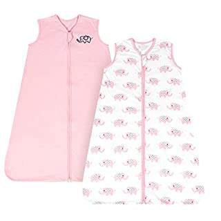 TILLYOU Medium M Breathable Cotton Baby Wearable Blanket with 2-Way Zipper, Super Soft Lightweight 2-Pack Sleeveless Sleep Bag Sack Clothes for Girls, Fits Babies Age 6-12 Months, Pink Elephant