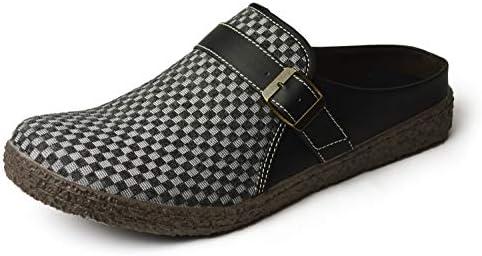 [スポンサー プロダクト][リバティールック] サボサンダル メンズ 編み込み チェック柄 サンダル クロッグサンダル メンズサンダル アウトドア カジュアル キャンバス 衝撃吸収 軽量 靴 Gray M(25cm-25.5cm相当)