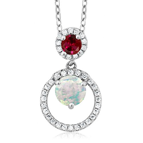 Gem Stone King 1.15 Ct Round Cabochon White Simulated Opal Red Created Ruby 925 Silver Pendant