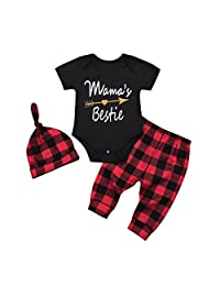 Clearance Baby Clothes Girls Boy Cute Cotton Romper Plaid Pants Hats Outfits Set