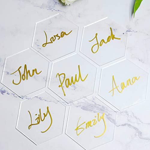 50PCS Clear Acrylic Name Place Cards | Custom Wedding Place Name Cards | Place Name Card | Transparent Acrylic Wedding Stationery Place Cards for Wedding, Birthday Parties, Table Numbers (Hexagon)