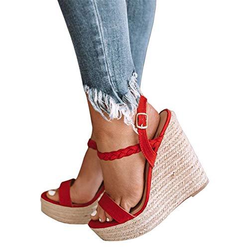 Syktkmx Womens Strappy Platform Wedge Espadrilles Open Toe Braided Sandals with - Braided Platform