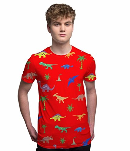 All Over Print T Shirt Sublimation Druck T-Shirt Roter Sommer Dinosaurier  Herren Urlaub T ...