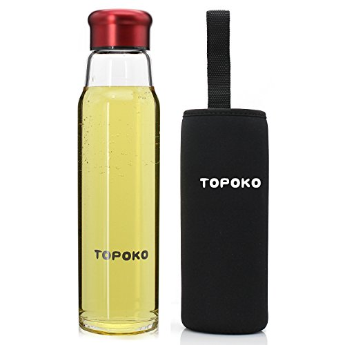 TOPOKO 18.5OZ Top Level Quality Expression of Love Stylish Environmental Borosilicate Glass Water Bottle with Colorful Nylon Sleeve (Burgundy With Black Sleeve) ()