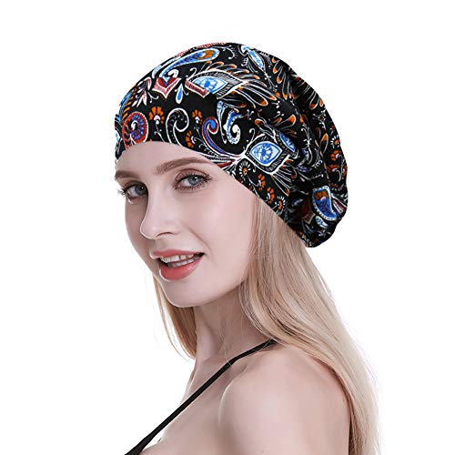 Satin Sleep Cap,Silk Lined Extra Large Black Women Natural Hair Bed Bonnet Colorful Floral