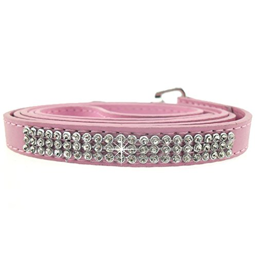 ng Lead Rope 115cm Long Faux Leather Dog Leash Bling Rhinestone Puppy Pink One Size ()