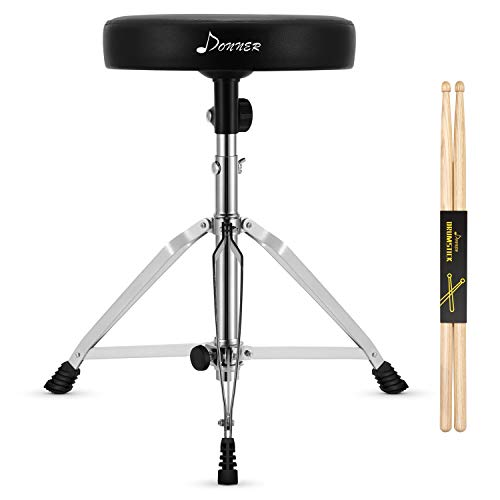 Donner Drum Throne Set, Height Adjustable Drum Stools with Padded Seat for Adult and Kids, 5A Drumsticks Included