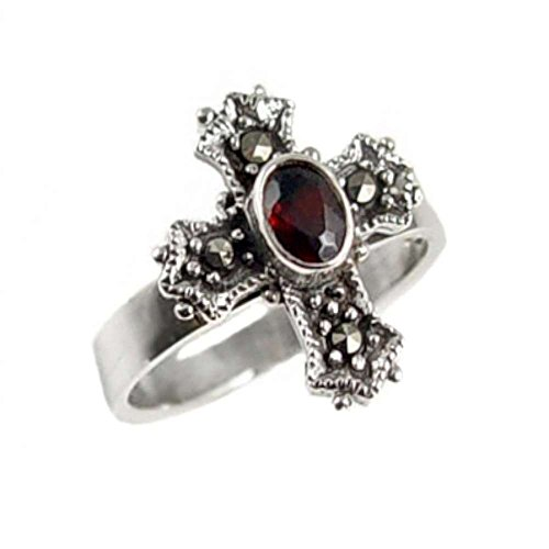 - Medieval Cross with Marcasite and Garnet Sterling Silver Ring Size 8(Sizes 5,6,7,8,9,10)