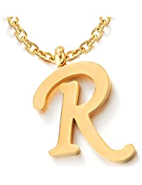 Womens Mens Steel Name Initial Alphabet Letter 26 A to Z Pendant Necklace, Gold Color