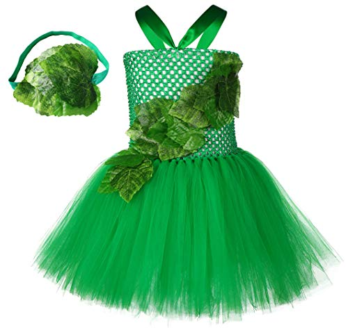 Abc Party Halloween Costumes (SZ-TONDA Girl Poison Ivy Costume - Handmade Halloween Party Cosplay Birthday Tutu Dress for Kid Toddler Child with)