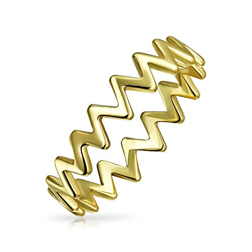 Bling Jewelry Chapado en oro y plata esterlina 925 Chevron MIDI Ring moderna
