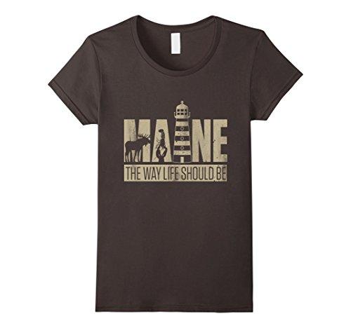 Womens Maine   I Love America T Shirt Xl Asphalt