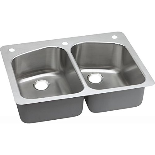 18 Gauge Stainless Steel 33 X 22 X 8 Double Bowl Dual Mount Kitchen Sink