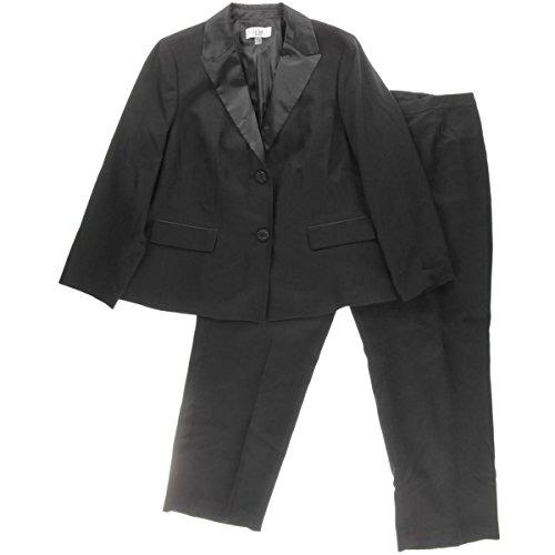 Le Suit Womens Plus Monte Carlo Satin Trim 2PC Pant Suit Black 18W
