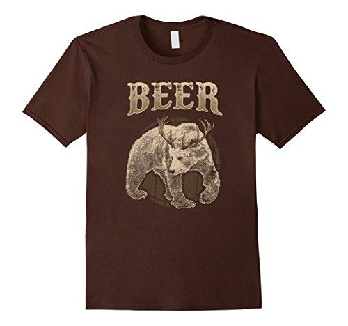 Mens Bear Deer Beer Barrel Funny T-shirt XL Brown Barrel Deer