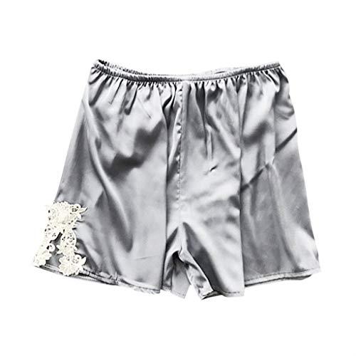 Women's Sexy Plus Size Sleep Shorts Stain Lace Babydoll Short Pants Silk Temptation Parjamas Nightgown Sleepdress S-3XL (Gray, XXL)