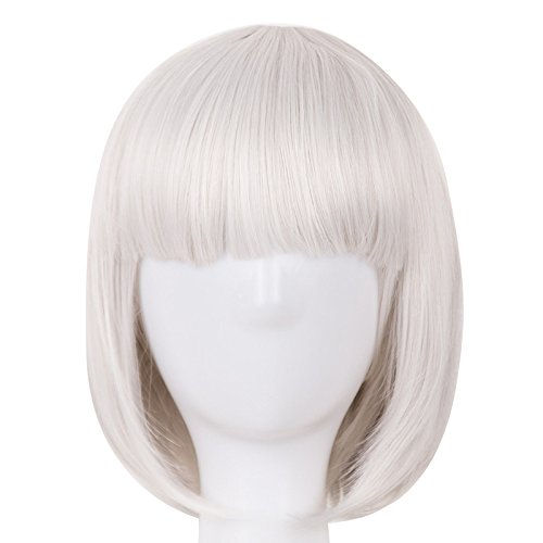 Cosplay Wig Synthetic Heat Resistant Short Wavy Women Flat Bangs Hair Costume Halloween Carnival Student Hairpiece Silver Grey 12inches ()