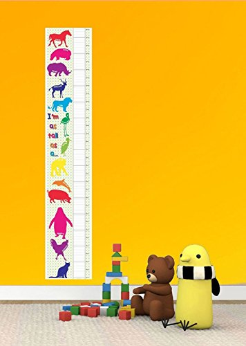 TALL AS ANIMALS PATTERN BEDROOM BOY GIRL KIDS TALL CANVAS HEIGHT CHART - Guaranteed Day Royal Mail Next Delivery
