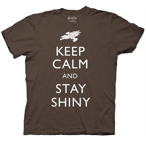 Firefly Keep Calm Stay Shiny Mens Brown T-Shirt