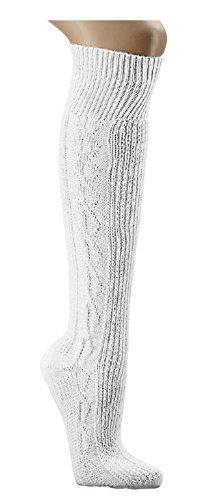 Kniebundhosen- Strümpfe uni-reinweiß gemustert Trachtenstrümpfe Socken Ch-686 (39-42)
