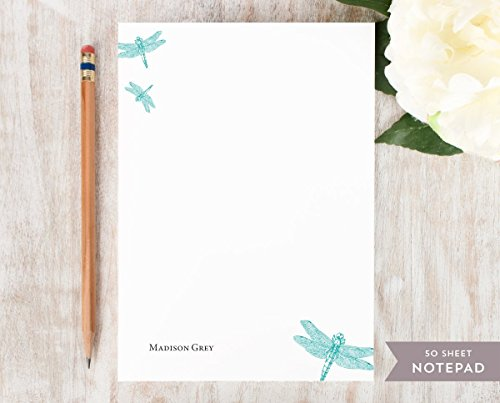 (DRAGONFLY NOTEPAD - Personalized Pretty Insect Stationery/Stationary Note Pad)