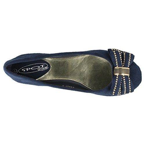 Studded Bow Ballerina Ladies Effect On Suede Blue Spot Navy wPq7v7