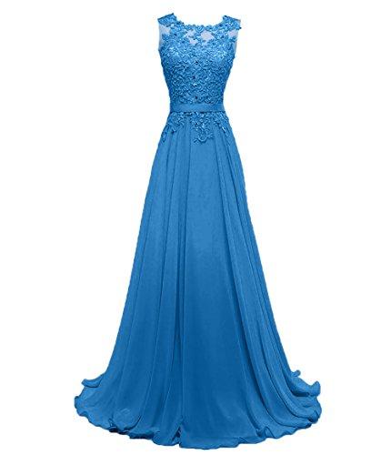 Blau Spitze Chiffon Damen Brautjungfernkleider Promkleider Abendkleider A linie Festlichkleider Partykleider Charmant Dunkel F5Pwq7x