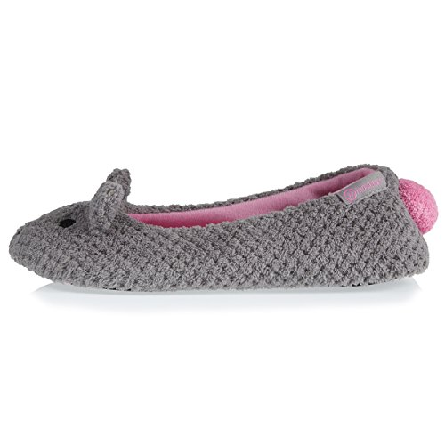 Isotoner Gris Chaussons Chat Femme Ballerines HB0Hrwqp