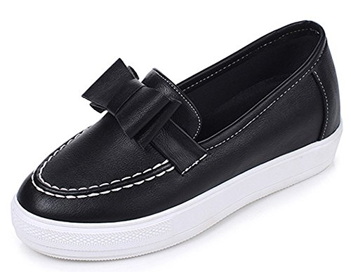 IDIFU Women's Comfy Bows Round Toe Low Top Slip On Platform Sneakers Mid Wedge Heels Loafers Black 9 B(M) US