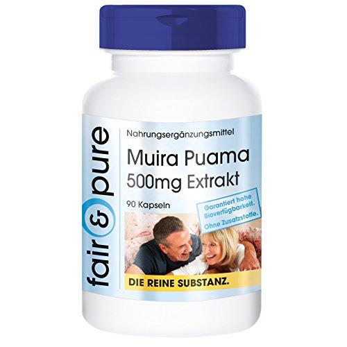 Muira Puama 500mg 10:1 Extrakt aus 5g Potenzholz - 90 Kapseln - frei von Hilfs- und Zusatzstoffen