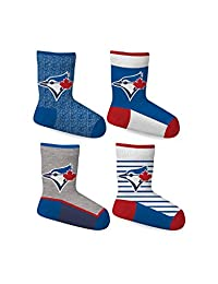 Toronto Blue Jays Boys Toddlers 4-Pack Crew Socks Shoe Size 8-11