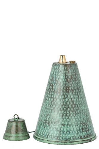 Hawaiian Cone Tabletop  Landscape Torch, Oil Lamp, Tabletop Lantern, (Hammered Patina)