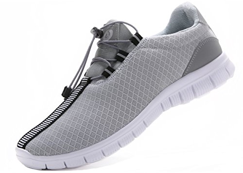 Juan Men's Running Shoes Fashion Breathable Sneakers Mesh Soft Sole Casual Athletic Lightweight (12US/46EU,MEN, Grey)