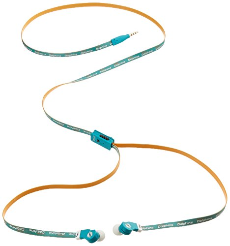 iHip NFL-DJZ-MID Official NFL Miami Dolphins Team Logo Flat Cord Earbuds with Built-In Mic