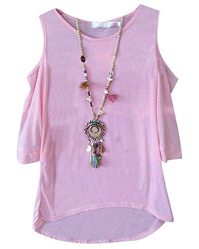Irrgulier Col Femmes Unie Chemise 4 Manches T Pink Rond Shirt Bretelles Tops 3 Couleur P4w4F5qr