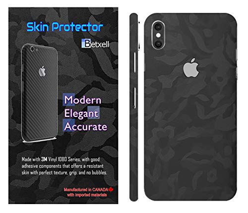 Camo iPhone Skin Protective 3M 1080 Film wrap Around Edges Cover Black Skin for iPhone 8, 8 Plus, X, Xs, XR, Xs Max (iPhone Xs)