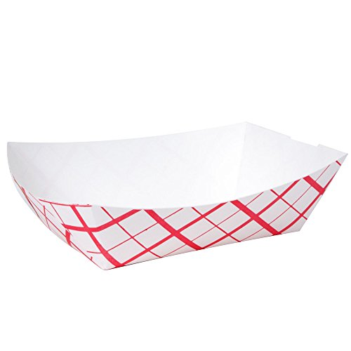 A World Of Deals #100 Paperboard Red Check Food Tray, 1-lb Capacity (Pack of 250) (Best Hot Dog Restaurants In The World)