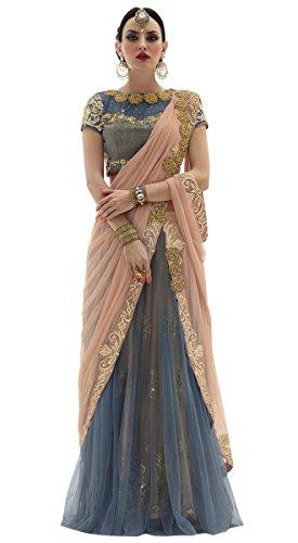 Gorgeous Lehenga Saree (INMONARCH Womens Gorgeous Net Saree SSR3810 Stitched Peach)