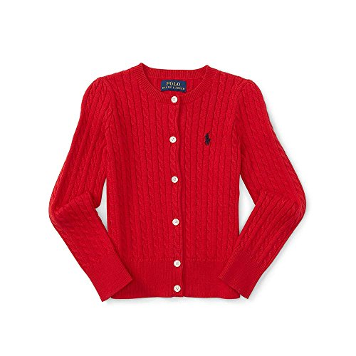 Polo Ralph Lauren Little Girl's Mini Cable Cardigan, 2T, Red